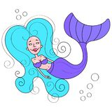Beautiful Mermaid . Illustration For T Shirts And Fabrics Or Kids Fashion Artworks, Children Books. Fashion Illustration . Cute. Beautiful Mermaid . Illustration stock illustration