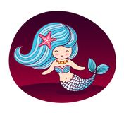 Beautiful mermaid with long blue wavy hair and starfish in hair. stock illustration