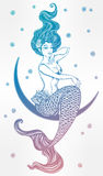 Beautiful mermaid outline vector illustration. Stock Image