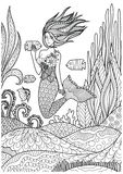Beautiful mermaid playing with fish under the ocean with amazing corals design for adult coloring book pages. Vector illustration. Beautiful mermaid playing Royalty Free Stock Photography