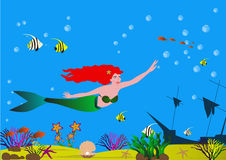 Beautiful mermaid with red hair in the sea bottom with shells, algae, fish and sandy bottom. Stock Photos