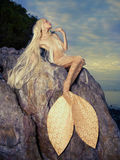 Beautiful mermaid sitting on rock stock photos
