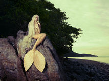 Beautiful mermaid sitting on rock stock photo