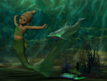 Beautiful mermaid swimming underneath the ocean. A 3D rendered image of a beautiful young mermaid swimming underneath the ocean and accompanied by a dolphin royalty free illustration