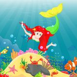 Beautiful mermaid Swimming Underwater with sea animals Royalty Free Stock Image