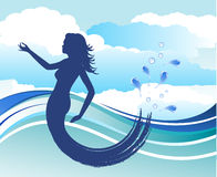 Beautiful mermaid with water and clouds Stock Photos