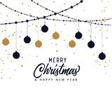 Beautiful merry christmas background with hanging xmas balls. Vector vector illustration