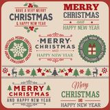 Beautiful Merry Christmas and happy new year. Merry Christmas and happy new year, label vintage stock illustration