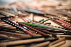 Beautiful mess. Colorful pencil colors Royalty Free Stock Photos