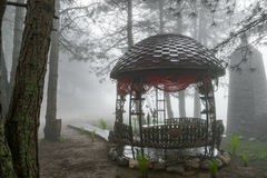 Beautiful metal carved gazebo in the Park pine trees in the fog Stock Image