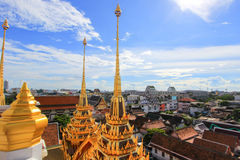 Beautiful metal spires of Loha Prasat,Wat Ratchanaddaram Woravihara Stock Image