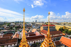 Beautiful metal spires of Loha Prasat,Wat Ratchanaddaram Woravihara Royalty Free Stock Images