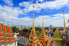 Beautiful metal spires of Loha Prasat,Wat Ratchanaddaram Woravihara. Wat Ratchanaddaram Woravihara(Loha Prasat) is a  buddhist temple located at the intersection Royalty Free Stock Photos
