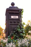 Beautiful metal vintage mailbox overgrown with ivy lit by ondergoing sun royalty free stock photography