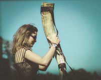Beautiful metalhead with horn in Hellfest Royalty Free Stock Image
