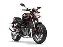 Beautiful metallic dark red modern sports motorcycle. Isolated on white background Royalty Free Stock Photo