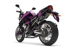 Beautiful metallic deep purple modern sports motorcycle. Isolated on white background Stock Images