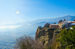 Beautiful Meteora mountains, sunshine landscape. Nature of Greec Stock Images