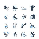 Bone Fracture Icons � Blue Version. Beautiful, Meticulously Designed Bone Fracture Icons royalty free illustration