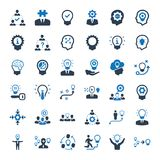 Brainstorming and Idea Development Icons - Blue Version. Beautiful, Meticulously Designed Brainstorming and Idea Development Icons - Blue Version stock illustration