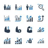 Financial Strength Icons - Blue Version. Beautiful, Meticulously Designed Financial Strength Icons - Blue Version Royalty Free Stock Photos