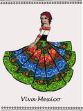 Beautiful Mexican dancing woman. royalty free illustration