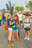 Beautiful Mexican fans in national clothes before the match Brazil Mexico for the World Cup. Russia, Samara, July 2018: beautiful Mexican fans in national royalty free stock images