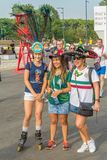 Beautiful Mexican fans in national clothes before the match Brazil Mexico for the World Cup. Russia, Samara, July 2018: beautiful Mexican fans in national royalty free stock image