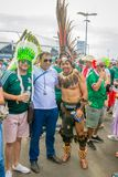 Beautiful Mexican fans in national clothes before the match Brazil Mexico for the World Cup. Russia, Samara, July 2018: beautiful Mexican fans in national royalty free stock photos