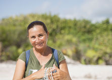 Beautiful Mexican Woman in Cancun Stock Photography