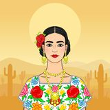 Beautiful Mexican woman in a national clothes. Stock Image