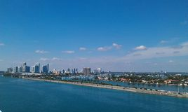 Beautiful Miami skyline on sunny day royalty free stock photography