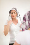 Beautiful middle age woman cancer patient wearing headscarf Royalty Free Stock Image