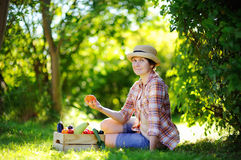 Beautiful middle age woman enjoying harvest Stock Photography