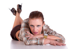 Beautiful middle-age woman, lying on the floor, Stock Images