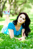 Beautiful middle age woman relaxing Royalty Free Stock Image