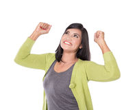 Beautiful middle aged Asian woman very excited and happy isolate Royalty Free Stock Photography