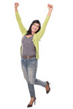 Beautiful middle aged Asian woman very excited and happy isolate Stock Photo