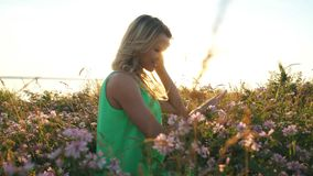 Beautiful middle aged blond woman. Attractive girl in a field with flowers posing on camera stock footage