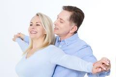 Middle aged Couple portrait on white background. stock image