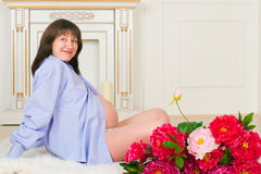 Beautiful middle aged pregnant female Royalty Free Stock Photography