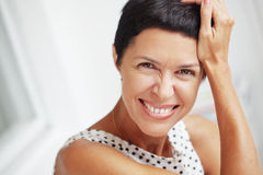 Beautiful middle aged woman. Portrait of beautiful middle aged woman Royalty Free Stock Photos