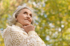 Beautiful middle-aged woman in autumn park Stock Photos