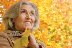 Beautiful middle-aged woman on the background of autumn leaves Royalty Free Stock Image