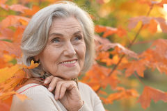Beautiful middle-aged woman on the background of autumn leaves Royalty Free Stock Photography