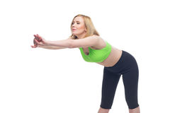 Beautiful middle aged woman doing sport exercise Stock Photo