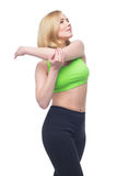 Beautiful middle aged woman doing sport exercise Royalty Free Stock Photography