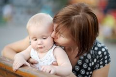 Beautiful middle aged woman and her adorable little grandson Royalty Free Stock Photos