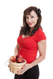Beautiful Middle Aged Woman Holding Apples Royalty Free Stock Photography
