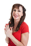 Beautiful Middle Aged Woman Portrait in Bathing Suit Royalty Free Stock Photography
